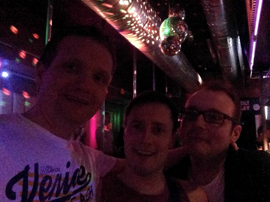 Photo of Robert, Mark and Peter in some dodgy bar