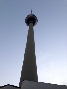 Photo of the TV Tower in Berlin, looking upward from the base