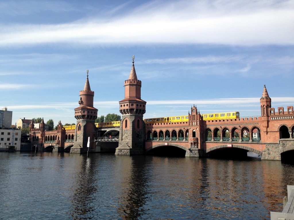 U-Bahn train crossing the Oberbaum bridge, Berlin