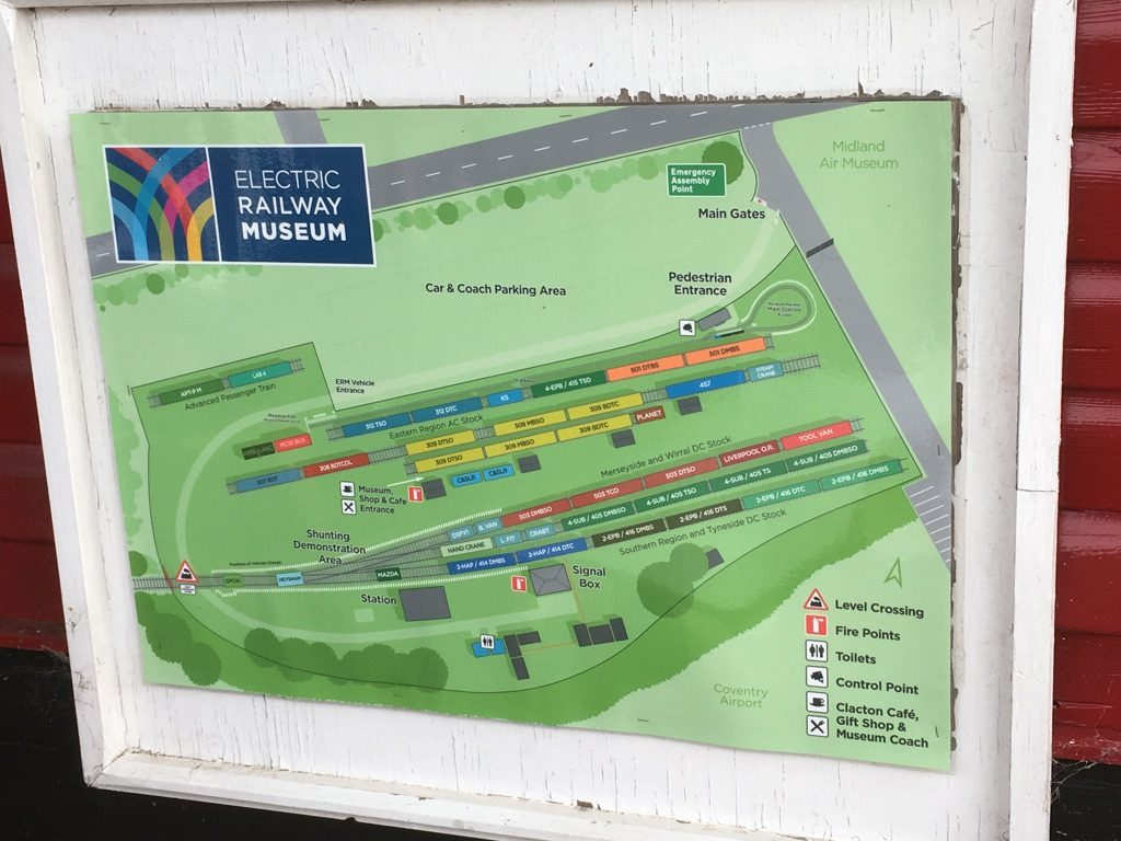 Map of Electric Railway Museum showing site plan and exhibits