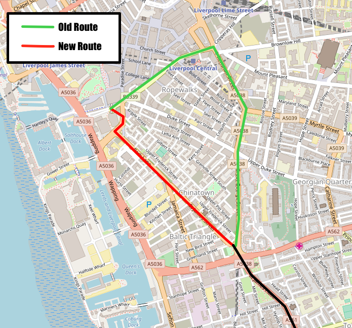 Map of Liverpool city centre showing old and new 82 routes