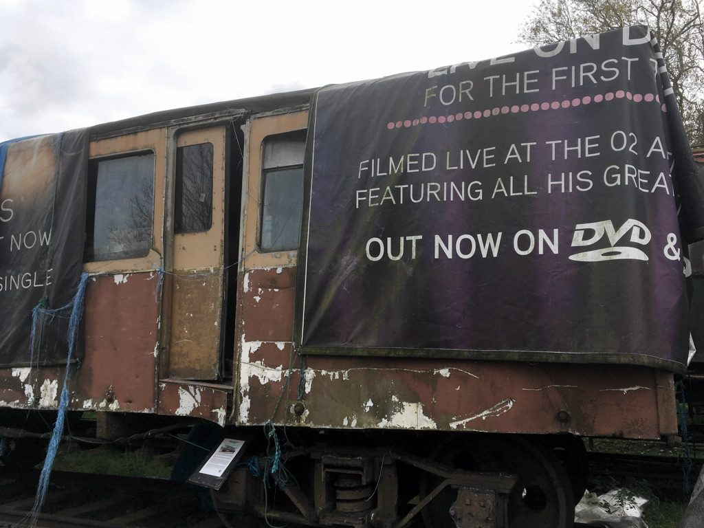 Photo of LOR trailer car 7, sheeted over, at the Electric Railway Museum