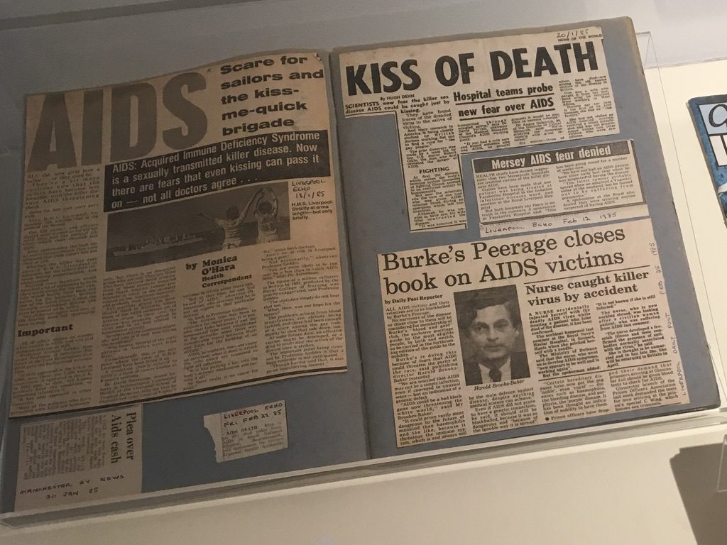 "Newspaper headlines: ""AIDS Scare for sailors and the kiss-me-quick brigade"", ""Kiss of death"", ""Mersey AIDS fear denied"", ""Burke's Peerage closes book on AIDS victims"""