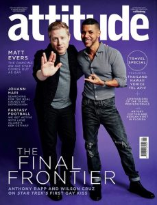 Cover of Attitude magazine showing Anthony Rapp and Wilson Cruz