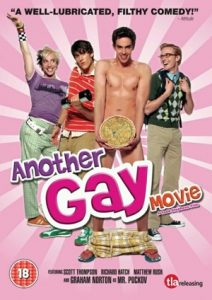 "DVD cover of ""Another Gay Movie"" showing main cast"