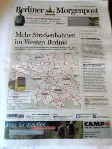 "Berliner Morgenpost with headline ""Mehr Straßenbahnen im Westen Berlins"""