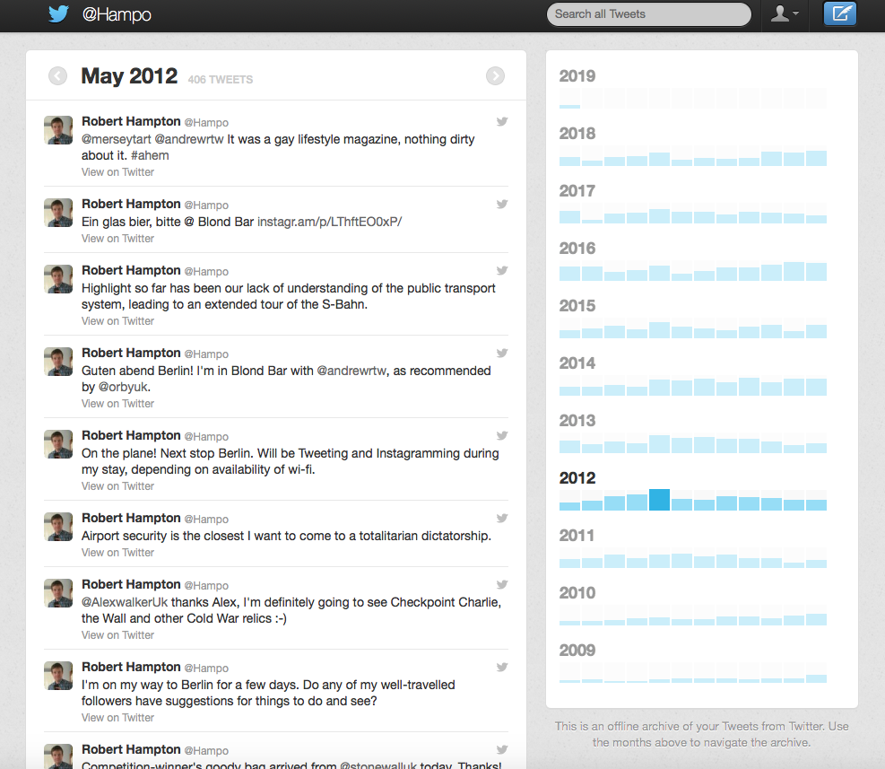 Screenshot of the downloaded Twitter archive, showing a selection of Tweets from 2012.