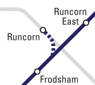 Extract from Northern network map showing Frodsham, Runcorn East and Runcorn stations and the route of the Halton Curve
