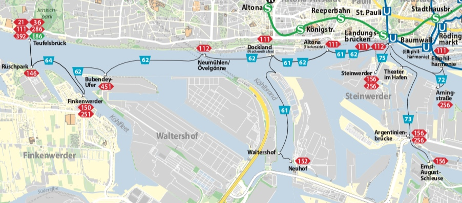 Map depicting Hamburg ferry network