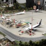 Model planes taxiing at model airport, Miniatur Wunderland
