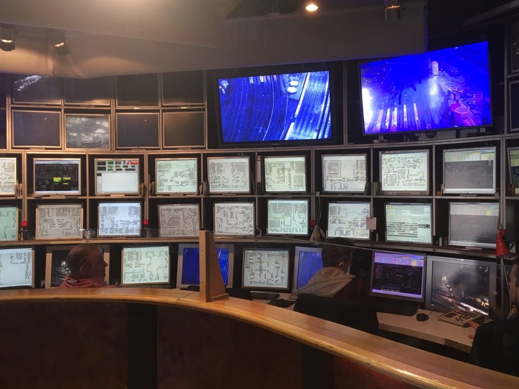 Miniatur Wunderland control centre, showing multiple computer monitors and CCTV screens