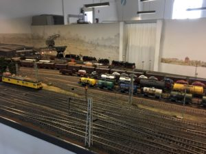 Wagons and tracks in the Museum of Hamburg model railway
