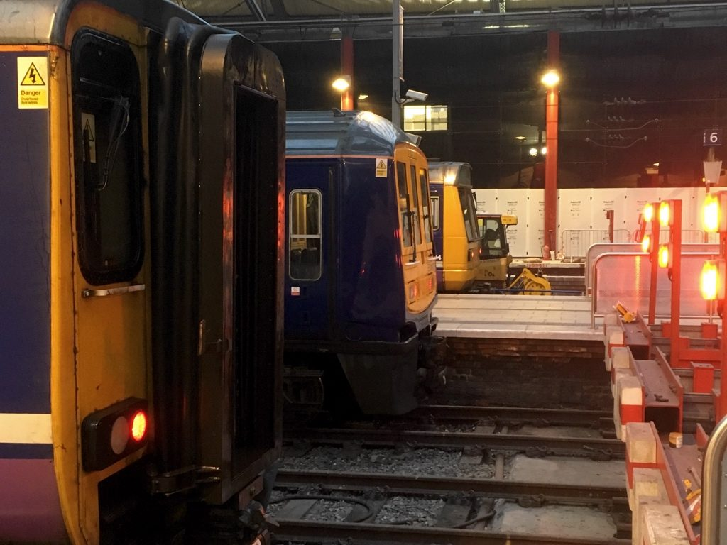 Photo of class 156, 319 and 142 lined up on the buffers at Liverpool Lime Street