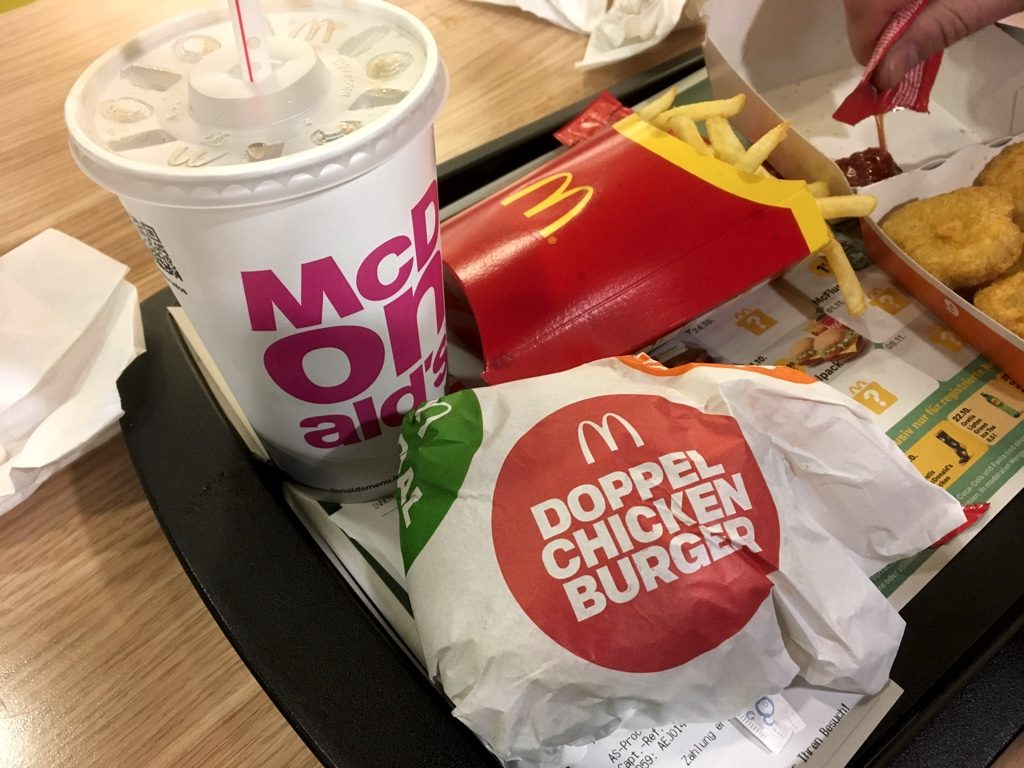 """Drink, """"Doppel Chicken"""" burger and fries"""