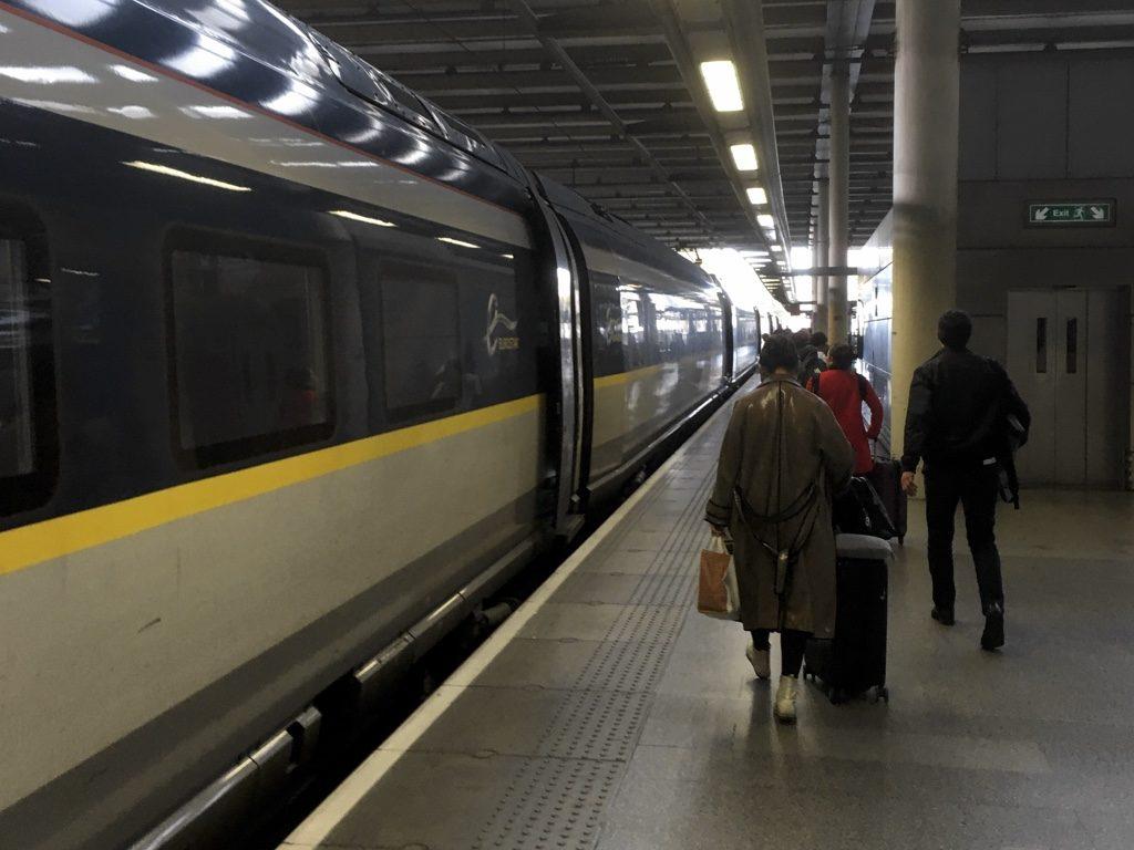 Photo of Eurostar train at platform at St Pancras