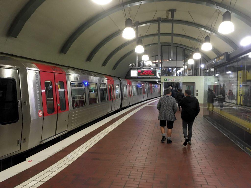Photo of Hamburg U-Bahn station, with train