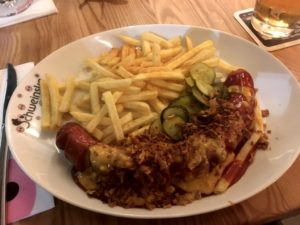 Photo of Currywurst and fries