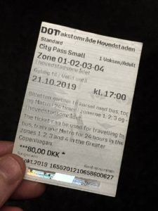 Photo of Copenhagen City Pass ticket (cost 80 DKK), valid for 24 hours.