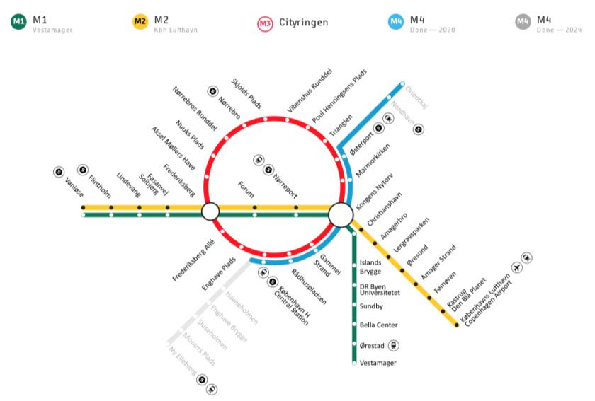 Copenhagen Metro Network Map