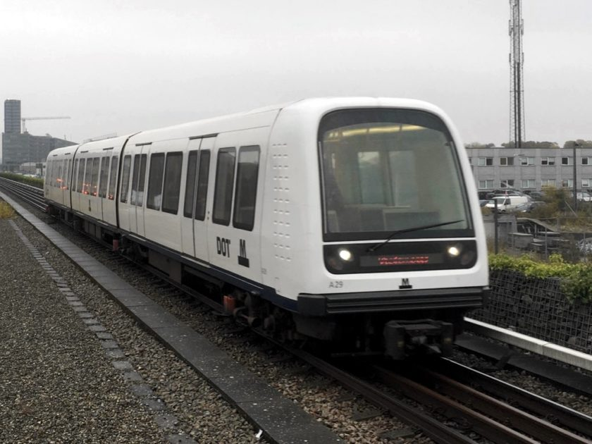Photo of train approaching Vestamager station, Copenhagen Metro