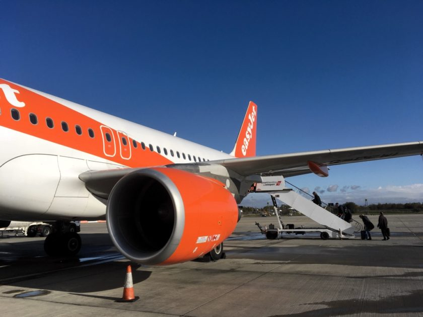 Easyjet flight on the tarmac at Liverpool Airport