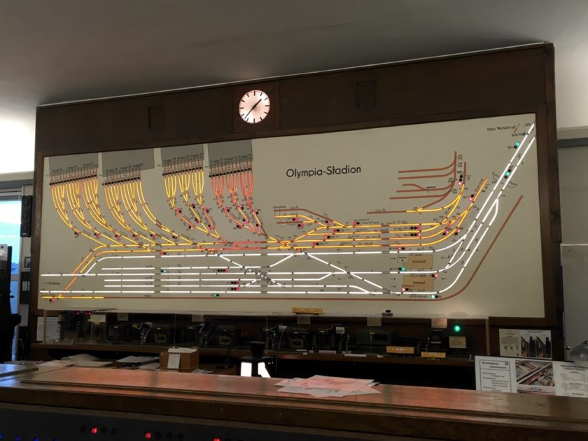 Photo of Olympia-Stadion track diagram in former signal box