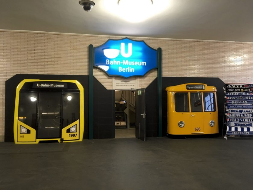 Berlin U-Bahn Museum entrance between two train cabs