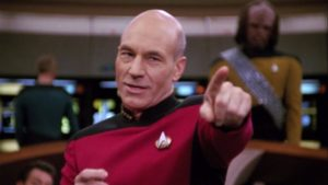 Captain Picard on the bridge of the Enterprise-D