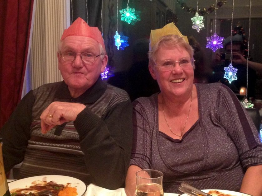 Mum and Dad at Christmas Dinner