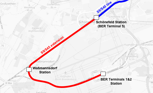 Map showing Berlin Schönefeld station, Waßmannsdorf Station and BER Terminal 1-2 station, with S-Bahn links