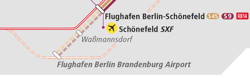 S-Bahn network map, showing Flughafen Berlin-Schönefeld station with a dotted line to Waßmannsdorf and Flughafen Berlin-Brandenburg