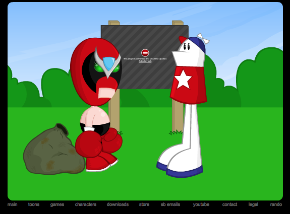 Still from a Homestar Runner web cartoon showing the characters Strong Bad and Homestar Runner